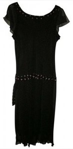 Believe Petite short dress Black with pink dots on Tradesy
