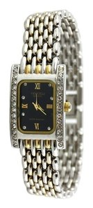 Vecceli Italy Vecceli Quartz Women's Two Toned Weave Watch with Crystal Accents