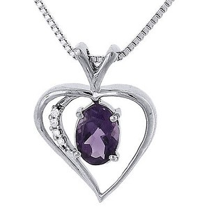 Other Diamond Created Amethyst Heart White Gold Finish Pendant W Chain 0.74 Tcw