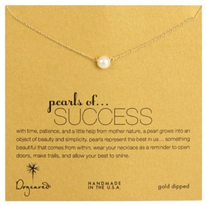 Dogeared pearls of success white pearl necklace, gold dipped