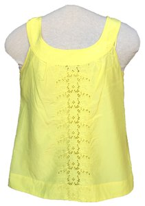 Banana Republic Silk Embroidered Top Yellow