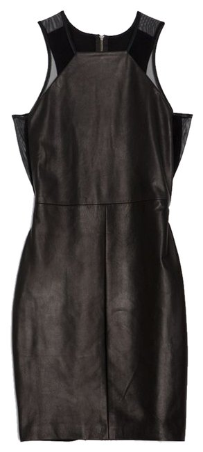 Item - Black Exclusive For Intermix Mesh Inset Leather Short Night Out Dress Size 2 (XS)