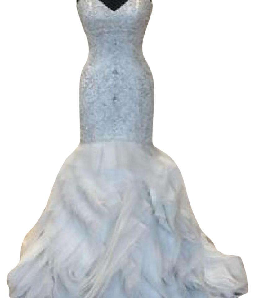 Justin Alexander Ivory Organza 9740 Formal Wedding Dress Size 6 (S ...