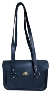 The Cambridge Satchel Company Structured Gold Hardware Embossed Satchel in Navy blue