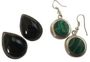 2 pair Sterling and stone earrings