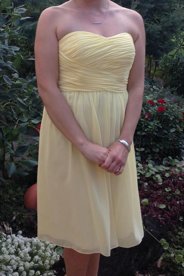 Donna Morgan Lemon Chiffon Sarah Traditional Bridesmaid Mob Dress Size 6 S