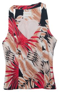 Cache Tropical Lined Top Red, tan, black