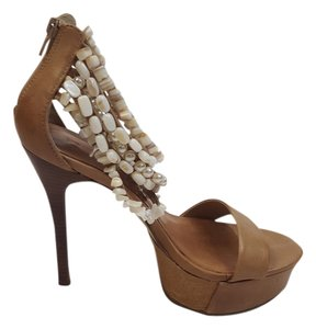 bebe Leather Pearl Brown/Cream Platforms