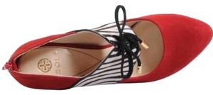 Isola Red White Black Zebra Pumps