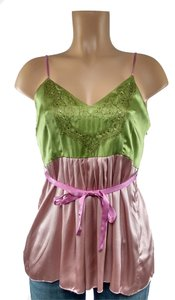 Velvet by Graham & Spencer Sparkle Satin Evening Top Green and Pink