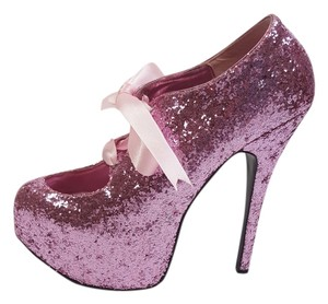 Bordello Glitter Pink Platforms