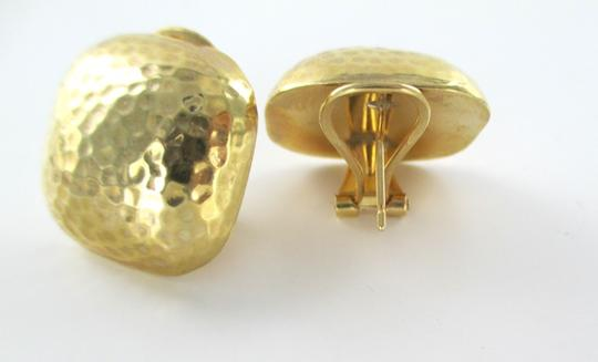 Other 14KT YELLOW HAMMERED GOLD SQUARE HOLLOW FINE JEWELRY 7.4 GRAMS EARRINGS JEWEL