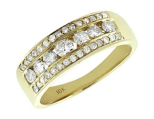 Mens 10k Yellow Gold Channel Genuine Round Diamond Wedding Ring Band 1.3 Ct