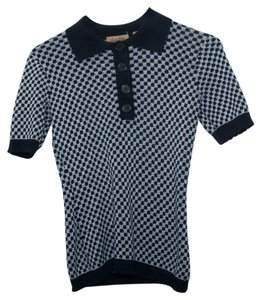 Peck & Peck Peter Pan Collar Buttons Checkered Button Down Shirt Black and White