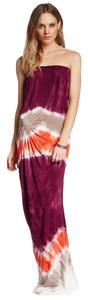 Flame Macaw (orange, burgundy, taupe) Maxi Dress by Young Fabulous & Broke Strapless Maxi
