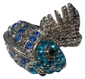 New Fish Statement Ring Adjustable Size Silver Tone Blue J2444