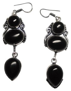 Other Sterling Silver Black Onyx Stone Earrings Long 2 Inch E502