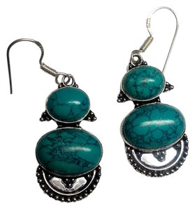 Other Sterling Silver Turquoise Stone Earrings Long E503