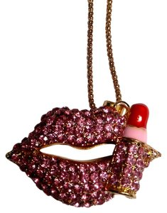 Betsey Johnson Betsey Johnson lips Lipstick Pendant Necklace Gold Red Pink N516