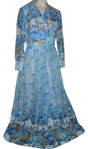 blue multi color print Maxi Dress by Seymour Levy Vintage Floral Maxi