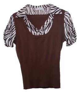 Soulmates Sweater Silk Zebra Peter Pan Collar Soft Top Brown