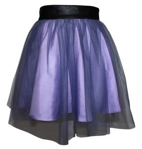 Free People Silk Mini Leather Waistband Skirt Amethyst Combo