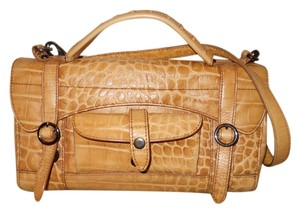 Via Spiga Leather Croc Satchel in tan