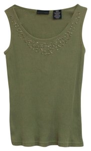 Apostrophe Embellished Beaded Top Green