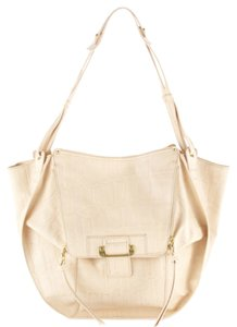 Kooba Zoey Roo Pouch Croco Embossed Cream Shoulder Bag