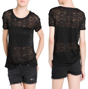 Mango Zebra Pattern Sheer T Shirt Black