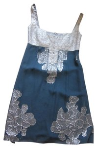 Nicole Miller short dress Silver Metallic and blue/green on Tradesy
