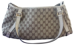 Gucci Monogram D Ring Abbey Tote in Beige