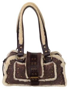 BCBGMAXAZRIA Satchel in Brown and Cream