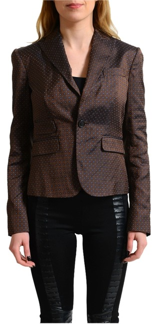 Preload https://item5.tradesy.com/images/dsquared2-brown-silk-patterned-one-button-women-s-blazer-size-4-s-14881744-0-1.jpg?width=400&height=650