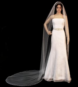 Royal Cathedral Length Beaded Edge Wedding Veil