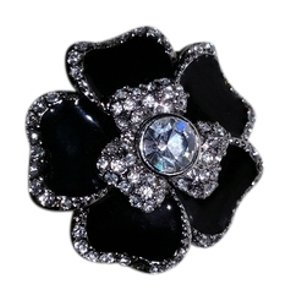Macy's Black Crystal Ring Flower