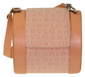 BVLGARI Roll Leather Monogram Canvas Tote in Peach