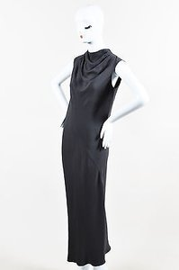 Gray Maxi Dress by Rick Owens Stretch Woven Sl Silver Tone Zip Draped Neck Long