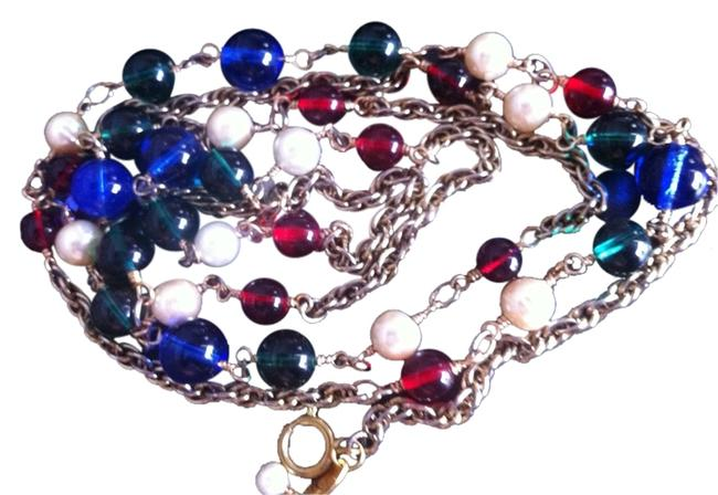 Chanel Red/Green/Blue/Pearl And Red/Green/Blue/Pearl Gripoix Necklace Chanel Red/Green/Blue/Pearl And Red/Green/Blue/Pearl Gripoix Necklace Image 1