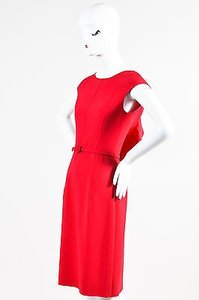 Oscar de la Renta Stitched Side Ruffle Back Wool Sheath Dress