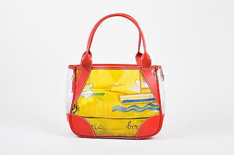 8c150c8e32d9 Prada Red Yellow Clear Pvc Printed Leather Trim Tote in Multi-Color Image 0  ...