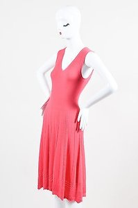 Oscar de la Renta short dress Pink Wool Woven Braided Knit Skater on Tradesy