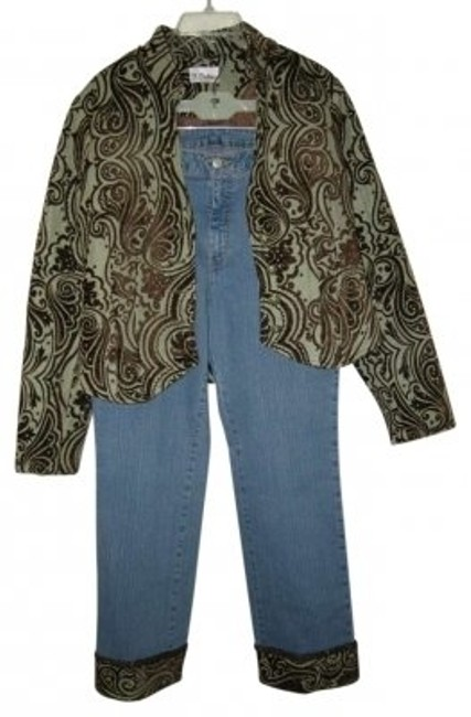Item - Light Green and Brown Jacket Jeans Pant Suit Size 10 (M)