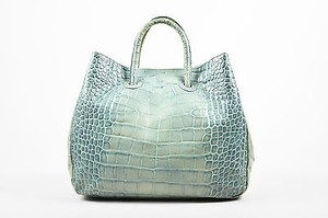 Furla Aqua Croc Embossed Tote in Blue