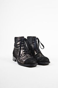 Chanel Black Gunmetal Metallic Pony Hair Distressed Lace Up Gray Boots