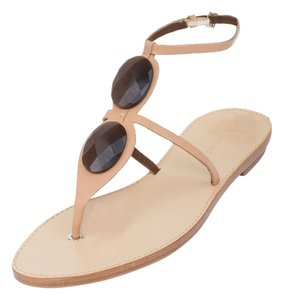 Giorgio Armani Armani Genuine Leather Armani Flats T-strap Light Brown Sandals