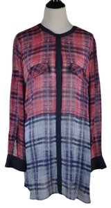 BCBGMAXAZRIA Plaid Silk Shirt Dress Tunic