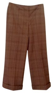 Anne Klein Relaxed Pants Brown Tiny Plaid