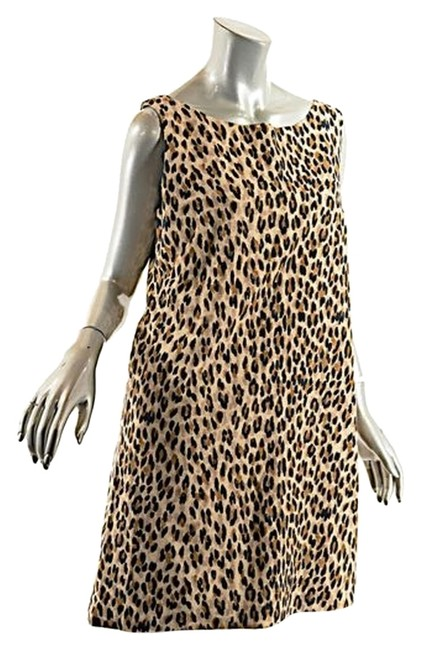Preload https://item3.tradesy.com/images/brown-and-black-tanblackbrown-cotton-animal-print-sheath-knee-length-short-casual-dress-size-14-l-14883217-0-1.jpg?width=400&height=650