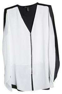 Kenneth Cole White/black Polyester Top Black/White